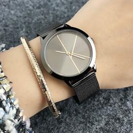 Reloj de metal online-Marca de fábrica de las mujeres hombres Unisex Lovers 'Steel Metal Band cuarzo reloj de pulsera C2140-3