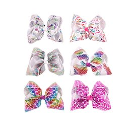 Wholesale Hair Clips For Baby Girls - Baby 8 Inch Big Mermaid hair Ombre Hair Bow On Clip Scale Hair Clip For Kid Girl