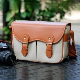 Wholesale Travel Camera Shoulder Bag - Wholesale-Canvas PU Leather Mens Womens Waterproof Camera Travel Shoulder Bag Padded Insert Case Fit Digital DSLR SLR Pentax