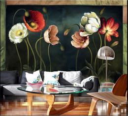 pinturas de flores para sala de estar Desconto Quarto europeu papel de parede 3d foto mural para sala de estar tv backsplash papéis de parede home decor 3d pinturas de papel de parede de flores