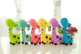 Wholesale Baby Dear Dolls - New 18cm Plush Giraffe Soft Toy Animal Dear Doll Baby Kid Child Birthday Happy Gift 6 Colors for choices