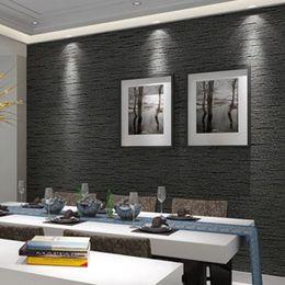 3D Non Woven Eco-Friendly Wallpaper Современный минималистский темный серый Имитация соломенных обоев Living Room Study Office 3D Home Decor от Поставщики полосатые обои металлические
