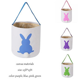cartoon blue bunnies Promo Codes - Easter Rabbit Basket Easter Bunny Bags Rabbit Printed Canvas Tote Bag Egg Candies Baskets 4 Colors