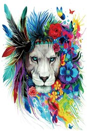 Wholesale colorful posters - Modern Colorful Lion Flower Animal Art Canvas Poster HD Print Oil Painting Wall Art Painting Picture Poster Home Decor
