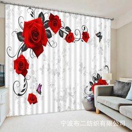 cama 3d rosas verdes Desconto Lindas flores 3D Rose Blackout Cortinas Para sala de estar Decoração da sala de cama Tapeçaria Tapete De Parede Cortinas Cotinas