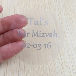 Wholesale Sticker Text - 90 3 cm Personalized Bar Bat Mitzvah invitations Stickers Round Religious Themed Baptism envelop seals silver text labels