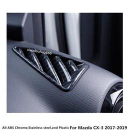 cubiertas de ventilación para automóviles Rebajas Alta calidad Para Mazda CX-3 CX3 2017 2018 2019 diseño del coche frontal Aire acondicionado Outlet Vent styling garnish cover frame lamp trim 2 unids