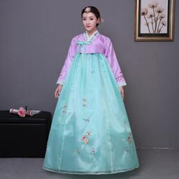 nuovi vestiti coreani per le donne Sconti Nuove donne nazionali tradizionali vestiti coreani Performance di danza femminile Cotume Royal Wedding Bride Dress Floral Cosplay Clothes