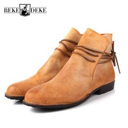 9a7d768f31 Botas de tobillo para hombre ocasionales Harajuku Lace Up Flats Zapatos de  cuero genuino Martin Boots Slip On Breathable Cowboy Botas Hombre rebajas  botas ...
