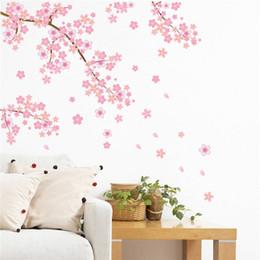 Murale rosa albero online-rosa fiori di ciliegio albero romantico fai da te casa decalcomania della parete delle ragazze camera da letto TV sfondo decorativo negozio cucina murale