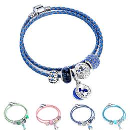 Cordón de cuero genuino cristal facetado mariposa perlas de cristal encantadoras del encanto pulseras brazaletes con vestido colgante regalo de la joyería de la muchacha desde fabricantes