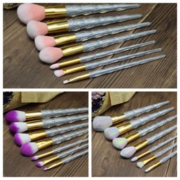 Wholesale Acrylic Hair Brushes - 7pcs set Makeup Brush Set Glitter Crystal Acrylic Foundation Powder Makeup Brushes Diamond Makeup Brush Kits CCA8567 25set