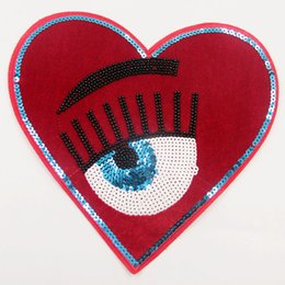 Wholesale Heart Motifs - 1 Piece Of Beaded Red Heart With Eyes Patches Iron On Patch For Clothing DIY Stripes Patchwork Motif Appliques