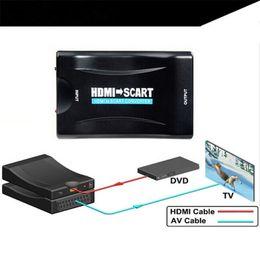 2019 convertidor de hd compuesto 1080p HDMI a SCART a HDMI Adaptador de audio convertidor de video compuesto con cable USB para Sky Box HD TV DVD STB rebajas convertidor de hd compuesto