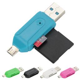 Argentina Venta al por mayor 2 en 1 adaptador del lector de tarjetas del teléfono móvil OTG con los jefes de la extensión del teléfono del puerto de la tarjeta micro USB TF / SD Suministro