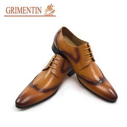 Wholesale Vintage Brogues - GRIMENTIN Newest vintage oxfords men dress shoes 2018 hot sale orange male business brogue shoes for men party size:38-44 OM47