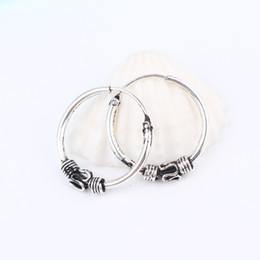 46495b9cd Chinese European Vintage Silver Color Endless Earrings Circle Handmade  Middle Hoop Earring Bali Wrap For Women