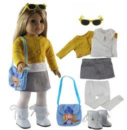 2019 occhiali americani della ragazza Nuovi vestiti per bambole 7 PCS + 1 paio di occhiali + 1 paio di stivali + 1 borsa + 1 collant per 18 pollici American Girl Bitty Baby Doll X93 occhiali americani della ragazza economici