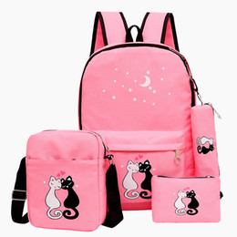 8535c1923bd1 4 pieces lot Women Backpack Cute Cat School Bags For Teenage Girls Printing Canvas  Backpack schoolbag bolsas feminina