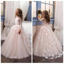 Wholesale Christmas Butterfly Images - O-Neck Long Sleeves Flower Girl Dresses With Butterfly Custom Lace Girls Pageant Party Gowns Custom 2018 Formal Kids Wear Cheap