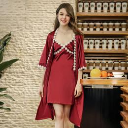 Robe   Gown Sets Lace Robe Set Sexy Women Satin Sleepwear Silk Bathrobe  Chemise Female Nightwear Autumn 2 Pieces Sets polyester satin sleepwear for  sale a381c1271