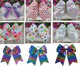 Wholesale Blue Cheer Bows - HOT 8inch 10pcs Rainbow BLING Mermaid Ribbon Large Cheer Bow Elastic Hair Band Cheerleading Girls Hair Accessories HOT SALE DROP SHIPPING