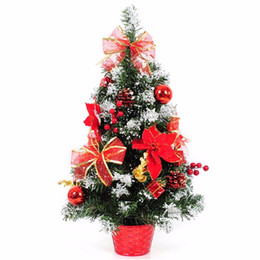 Wholesale House Figurines - New 30cm Christmas Decoration Flowerpot Christmas Tree Office And House Desk Decoration Tiny Artificial Tree S5012