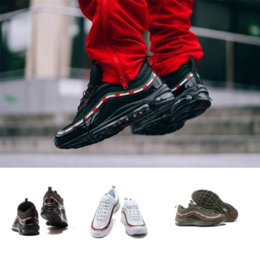 Wholesale Elastic Shoes - New Mens Sneakers Shoes classic 97 Men Running Shoes Black White Trainer Air Cushion Breathable Man Walking Sports Shoes size 36-45eur