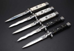 Wholesale Italy Models - 10 models Italy AKC 11 INCH Acrylic handle single action pocket knife folding knife camping knife EDC tools 1pcs Free shipping