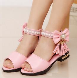 Wholesale fringe sandals - Children's shoes 2018 Summer New Girl Sandals Bow Princess shoes Child Soft bottom Fringe Student Dance