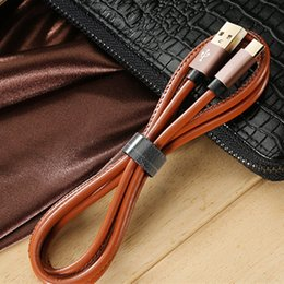 apple iphone cable color Australia - PU Leather Fast Charge Cable For iPhone 1M 2M Data Cable Aluminum Alloy Android Charging Adapter Metal Plug Type-C TOP
