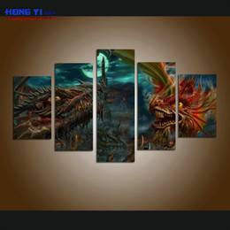Wholesale Giclee Poster - Large Modern Giclee Print Art Dragon Ball Z Fantasy Cartoon Poster HD picture for Living Room Wall Art Print Home Decor 5 Piece