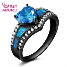 woman ring purple band Coupons - Vintage Black Gold Color Rainbow Purple Green Blue CZ Stone Heart Wedding Rings for Women Fashion Opal Ring Jewelry Gift