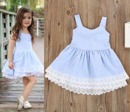 Wholesale Neck Vest - Kids Double Cake Dress Bandage Bow Elastic Lace Striped Vest Midriff Skirt Baby Girls Princess Summer Clothing Outfits 1-6T