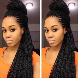 Wholesale Lace Front Braided Wig - Lace Box Braids Wig Havana Twist Synthetic lace front wig Black Hair Heat Resistant Braids With Baby Hair Braids Synthetic hair wigs