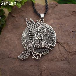 ravens schmuck Rabatt Ganzer VerkaufValknut Raven Knoten Raben runden Anhänger Halsketten Norse Viking Runen Schmuck Talisman SanLan