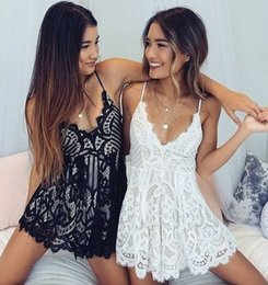 Wholesale Short Empire Style Dresses - Eur US Style Lace Women Short Dress Sexy V neck Backless Summer Sleeveless Dress Fit For Sleepwear