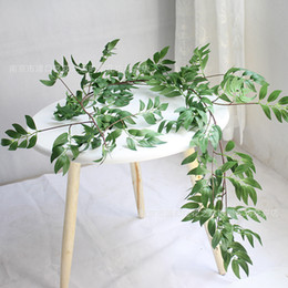 plastic green vines Coupons - 1.7M Simulation willow vine Leaf Artificial Plants Vine Fake Plants Home Decor Plastic Artificial Flower Rattan Evergreen Cirrus