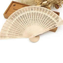 "Wholesale Japanese Fans For Weddings - 8"" Personalized White Sandalwood Folding Hand Fan with Organza Gift Bag Featured Craft for Ladies Wedding Favour Parties Fancy Dress Theatre"