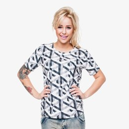Cubo lleno online-Camiseta de mujer Cube Illusion 3D Full Print Girl Tamaño libre Tops elásticos de señora Short Sleeves Digital Graphic Tee Shirt Blusa (GL29818)