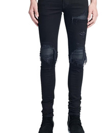 best denim washes Coupons - Best quality men's art patch Slim Fit Ripped Jeans Men Hi-Street Mens Distressed Denim Joggers Knee Holes Washed Destroyed Jeans Men's Jeans