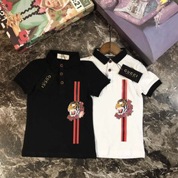 Wholesale T Shirt Size Cm - 2018 baby boys Lapel Polo T-shirt Tiger head animal embroidery pattern 1:1 hot sale designer clothes fashion High-quality size 90-140cm