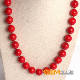 Wholesale Dyed Red Coral - 8mm 10mm 12mm red coral necklace (dyed from white coral ) DIY jewelry for women gift Yoga Meditation necklace free shipping