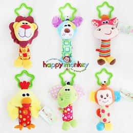 Wholesale First Baby Toy - Wholesale-New Baby Toys Rattle My First Tinkle Trio Hand Bell Multifunctional Plush Toy Stroller Mobile Gifts WJ148