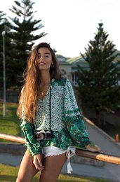 28189a238c86f3 Puff long Sleeve Boho blouse Vinatge Chic New green Floral print sexy  V-Neck ruffles blouses Bohemian beach vacation holiday women shirt top