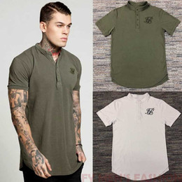 Camisas de algodão branco liso on-line-Homens Tee camisetas preto Branco verde Curva hem No Peito Logo Estiramento Últimas Designer Simples Camisas Para Os Homens de Algodão siksilk T camisa