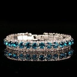 2019 corsage armbänder großhandel Luxus Hochzeit Österreichischen Kristall Armbänder Für Frauen Charme Grün Lila Weiß Diamant Armbänder Armreifen Schmuck