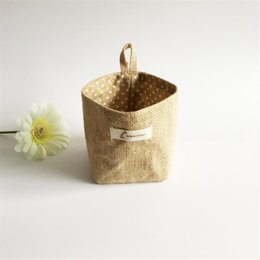 Wholesale Woven Baskets Wholesale - Linen Woven Storage Basket Polka Dot Small Storage Sack Cloth Hanging Non Woven Storage Basket Buckets Bags Kids Toy BoxII-207