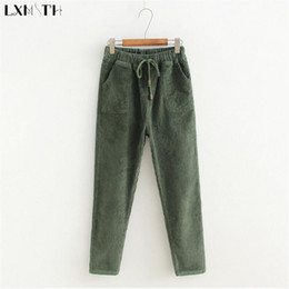 Wholesale Haren Pants Women - LXMSTH Korean Elastic Waist Drawstring Corduroy Pants Womens Solid Loose Casual Haren Pants Mid Waist Thin Trousers Women 2018