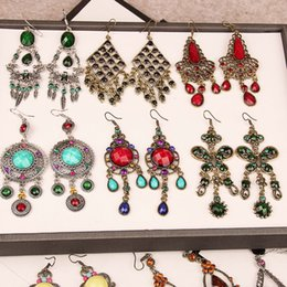 Wholesale vintage red rhinestone earrings - Mixed styles Vintage Bohemian long dangle earrings galzed gemstone resin bronze tassel Chandelier Earring For women fashion jewelry in bulk